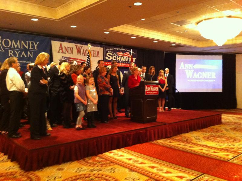 Wagner takes the stage at her election night party.
