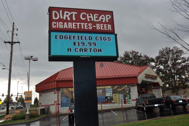 Customers cross the state line from Illinois to take advantage of Missouri's lower cigarette prices at this Dirt Cheap store in South St. Louis.