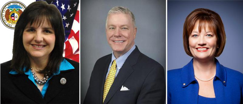 From left to right: Cynthia Davis, Peter Kinder and Susan Montee -- all vying to be Missouri's Lieutenant Governor following this year's election.