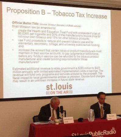 Dudley McCarter (L) and Ron Leone (R) make their case for and against Proposition B