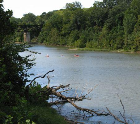 Kayakers paddle up the Meramec River in Route 66 State Park.