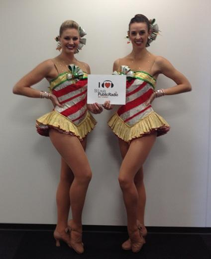 Rockettes Laura Iberg (L) and Becky Stout (R)