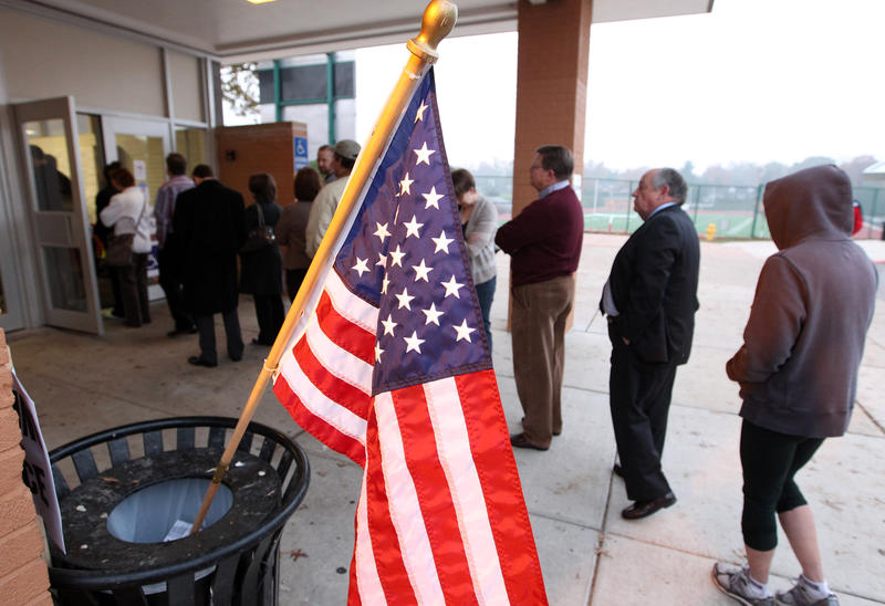 Voters wait in long lines to cast their ballots at Kirkwood High School in Kirkwood, Mo. on Nov. 6, 2012.