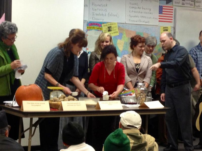 Students played guessing games with traditional fall foods in order to win prizes.