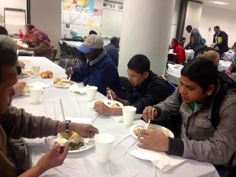 Guests dined on a meal that included turkey, mashed potatoes, and green beans.The annual Thanksgiving program hosted by the Institute gives immigrants and refugees a glimpse into the significance of the holiday.