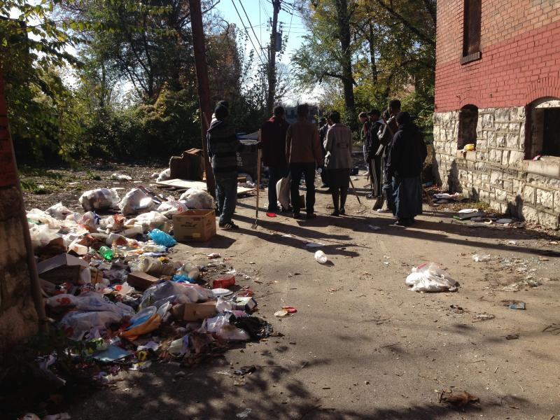 COGIC attendees gather to engage in a community cleanup in the Ward 4 area, located in The Ville neighborhood of St. Louis