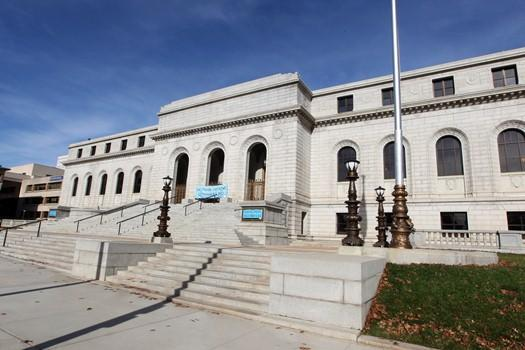 The main branch of the St. Louis Public Library reopens its doors in St. Louis after being closed for more than two years and following a $70-million rehabilitation to the 100 year old facility.