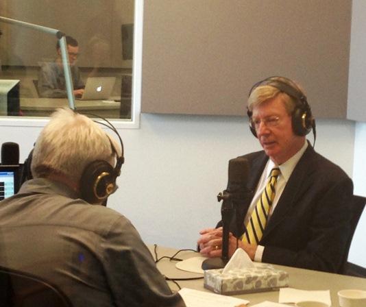 Guest host Jim Kirchherr talking with columnist George Will