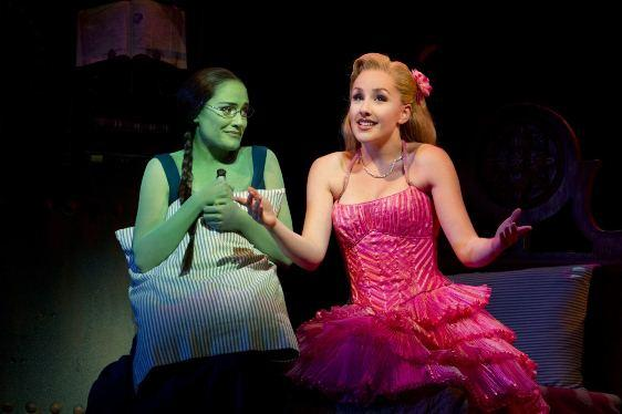 Christine Dwyer (Elphaba) and Jeanna de Waal (Glinda) in WICKED
