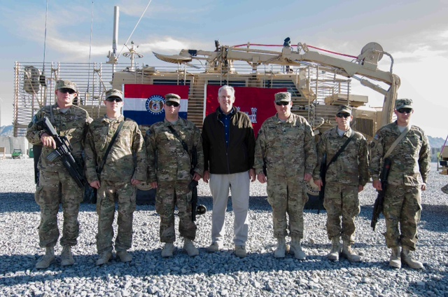 Gov. Jay Nixon (D) poses with Missouri National Guard members in Afghanistan on Dec. 5th, 2012.