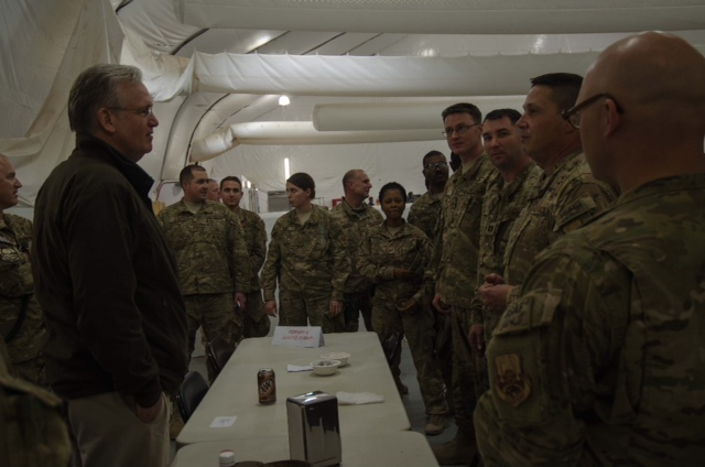 Gov. Jay Nixon (D) meets with Missouri National Guard troops in Afghanistan on Dec. 5th, 2012.