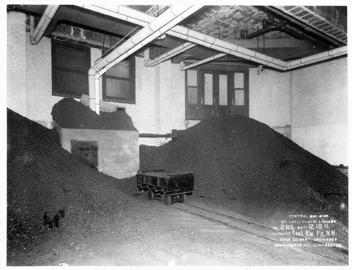 Coal-fired burners provided heat for the library when it first opened in 1912.