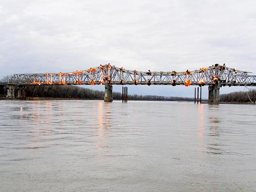 The Blanchette bridge is demolished on Dec. 4, 2012. The new westbound span will open in August, three months ahead of schedule.