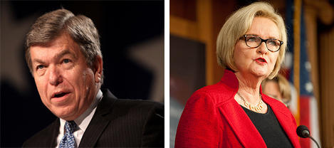 Mo. Sen. Roy Blunt (at left) and Sen. Claire McCaskill.