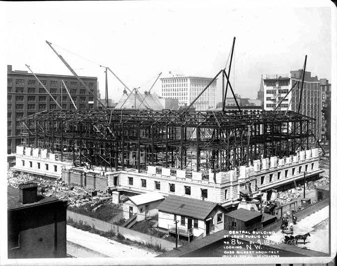 Work underway on Cass Gilbert's original structure in September 1909. The library opened on January 6, 1912.