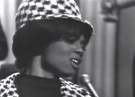 "Fontella Bass, in a still of a performance of her famed song ""Rescue Me."""