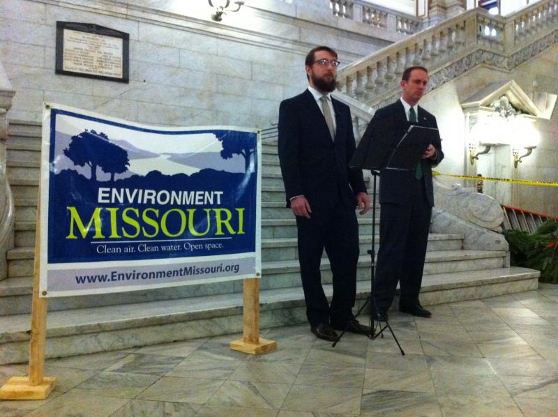 Stuart Keating of Environment Missouri (left) and state Senator-elect Scott Sifton gathered at City Hall to call for the PTC to be extended.