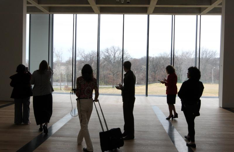 Reporters get a view of Forest Park from one of the galleries in the new East Building of the St. Louis Art Museum on Dec. 4, 2012.