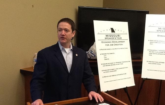 Mo. House Speaker Tim Jones (R, Eureka) speaks to reporters in Jefferson City on 12-12-12.