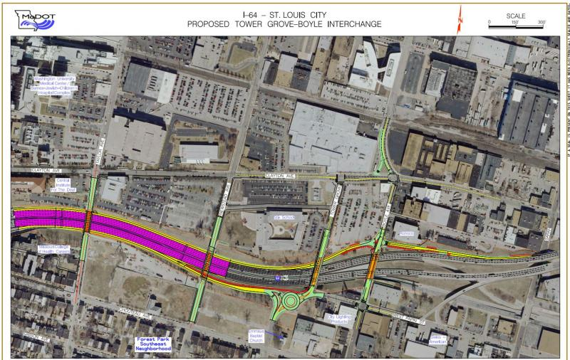 A map of the construction project on 1-64.
