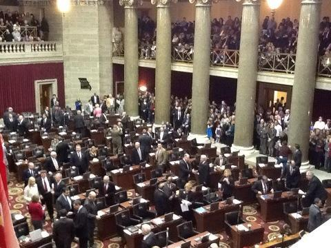 The Missouri House chamber at the Missouri Capitol, minutes before the 97th General Assembly convened for the first time on Jan. 9, 2013.
