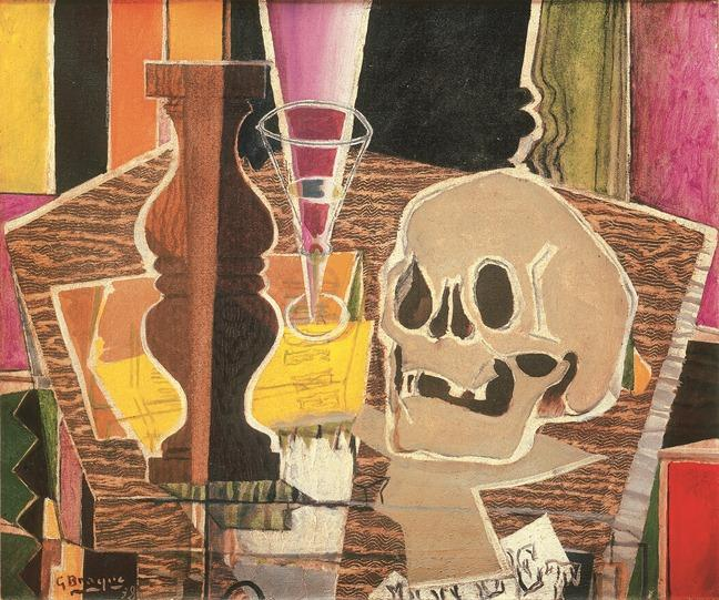 "Georges Braque, Baluster and Skull (recto), 1938. [verso: Still Life with Fruit Dish, c. 1932-33.] Oil on canvas, 17 3/4 x 21 5/8"". Private collection."