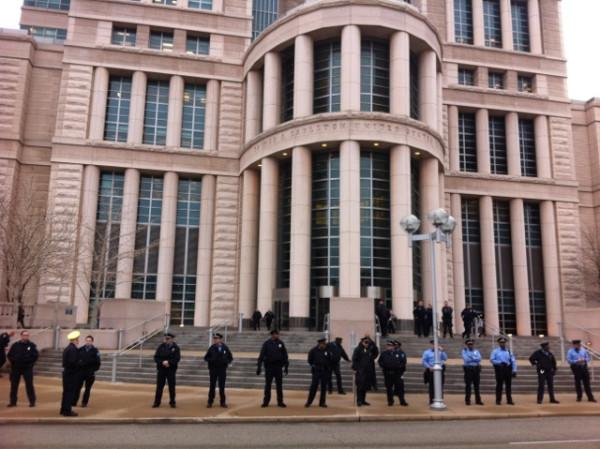 Police officers in front of Eagleton Courthouse in St. Louis during the protest.