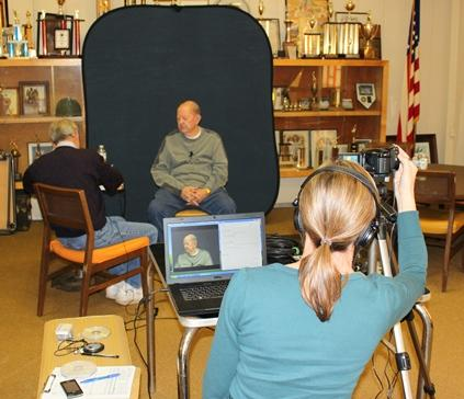 Volunteer and American Legion Historian Mike Trial conducts a veterans interview for the Missouri Veterans History Project and Library of Congress in Columbia, MO on November 16, 2010.
