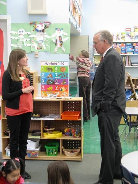 Gov. Jay Nixon meets with Parkway School District preschool teacher Maggie Velicer. Nixon says his proposed budget will boost funding for early education.
