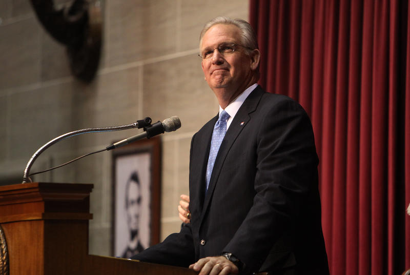 Missouri Governor Jay Nixon smiles as he prepares to deliver the State of the State address in the Missouri Capitol in Jefferson City, Mo. on Jan. 28, 2013.