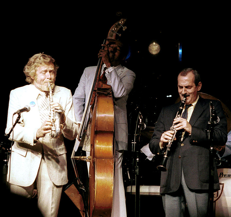 Bob Wilber (L), Ray Brown, Kenny Davern (R)-1986