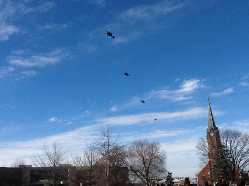 A flyover by four Missouri National Guard helicopters, just after Gov. Nixon was sworn into office for his second term.