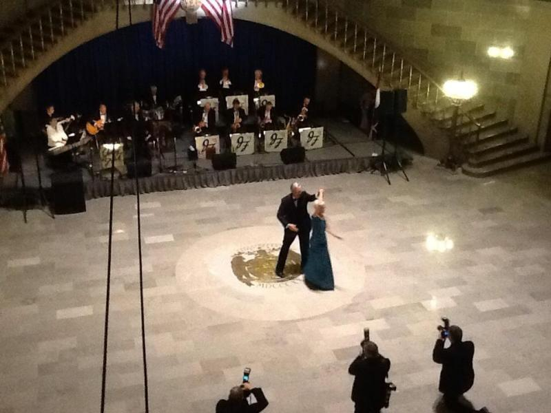 "Gov. Jay Nixon (D) and First Lady Georganne Wheeler Nixon dance to the official state song, ""The Missouri Waltz,"" to open the Inaugural Ball."