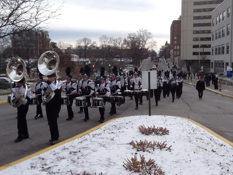 A marching band in Missouri's 2012 inaugural parade in Jefferson City.