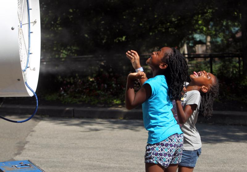 Children at the Saint Louis Zoo enjoy a cold mist from a fan during a day of record setting temperatures of 109 degrees in St. Louis on June 28, 2012.