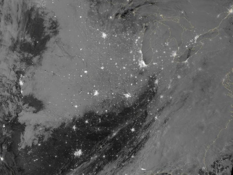 A NASA photograph taken just before 2 a.m. on Feb. 23 showing the deposits of snow blanketing the Midwest.