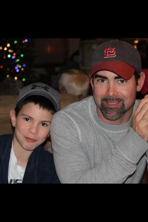 Andy Gammon (r), with his son Ethan, in an undated photo.  Gammon died in March 2012 while working on the new Miss. River Bridge.