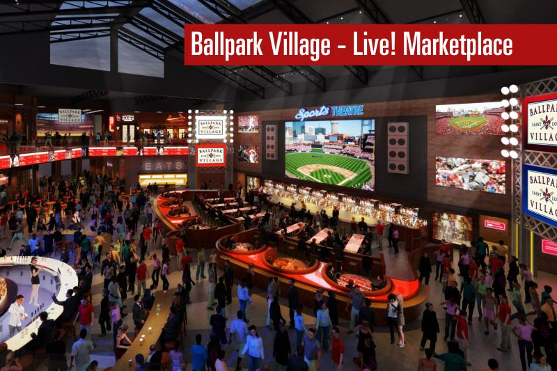 An artist rendering of plans for the Live! Marketplace portion of the new Ballpark Village. The groundbreaking for the long-awaited project happened today.