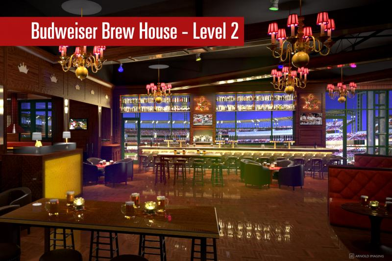 An artist rendering of the second level of the Budweiser Brew House portion of Ballpark Village.