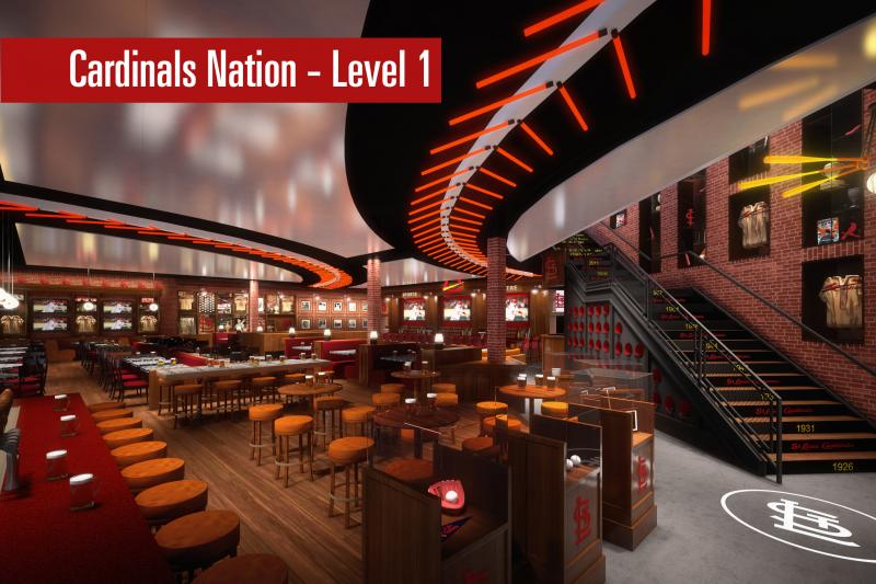 The plans for the first level of the Cardinals Nation section of Ballpark Village.