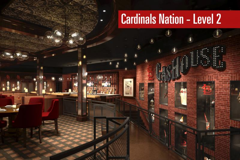 A look at the plans for the second level of the Cardinals Nation section of Ballpark Village.