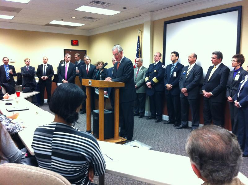 Nixon speaks at St. Charles County Economic Development Center.
