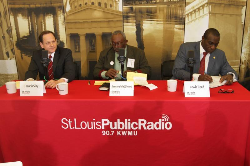 (From left to right) Mayor Francis Slay, Former St. Louis Alderman Jimmie Matthews and Aldermanic Board President Lewis Reed during today's St. Louis Mayoral Primary Forum.