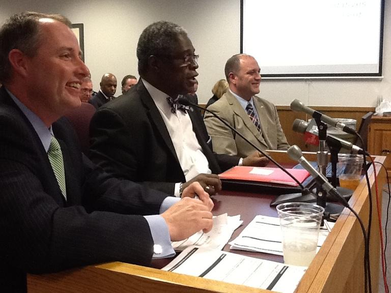 Kansas City Mayor Sly James, flanked by two Mo. House Members, testified in favor of Angel Investment tax credits at a House hearing earlier this month.  Today he testified before a Mo. Senate committee in support of that chamber's version of the bill.