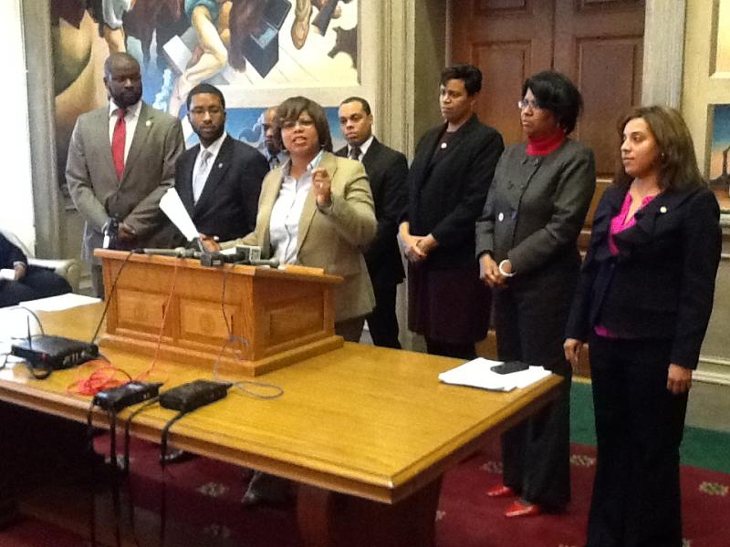 iPad photo of State Sen. Jamilah Nasheed (D, St. Louis) addressing reporters on the Mo. Leg. Black Caucus' opposition to this year's crop of photo voter I.D. bills.