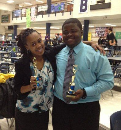 Destiny Crockett and Cameron Smith, high school students at Clyde C. Miller Career Academy