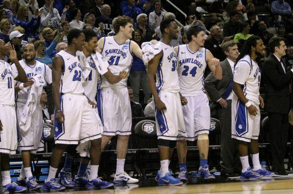 The Saint Louis University Men's Basketball Billikens following their win over New Mexico State in the NCAA tournament.