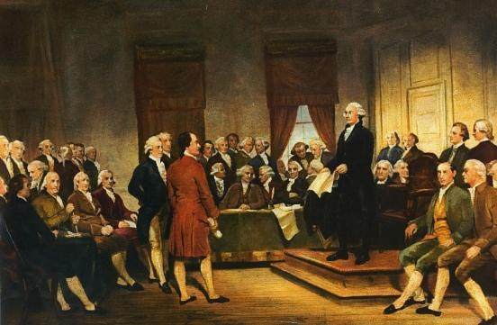 A painting of the George Washington leading the Constitutional Convention in 1787