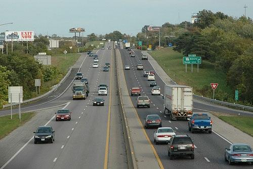 Interstate 70 in Columbia, Mo.  Around $1B would be earmarked to expand I-70 to 6 lanes between Wentzville and Blue Springs under SJR 16.