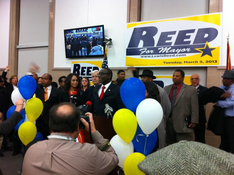 Reed gives his campaign speech.